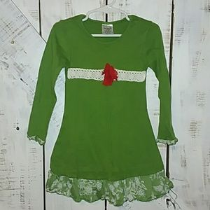 Other - Green dress with red flower size 3T